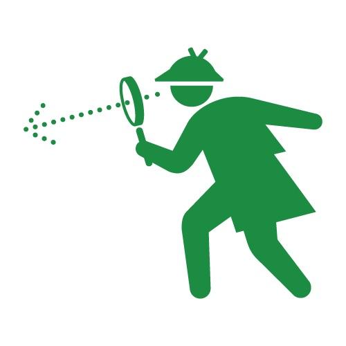 緑一色のシャーロック・ホームズが虫眼鏡で覗いている