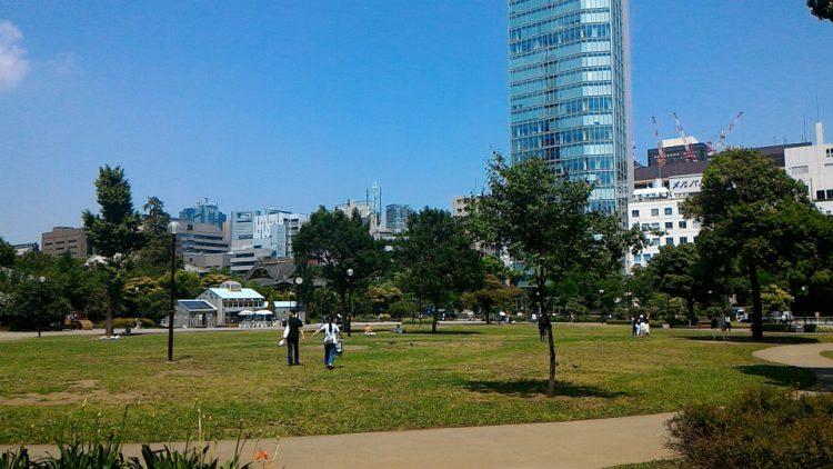 東京都港区芝公園の芝生広場