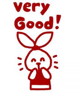 白と赤を基調としたウサギのキャラクターが「very good」と喜んでいる様子