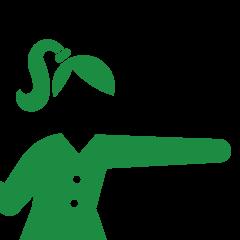 腕を伸ばしている女性のピクトグラム
