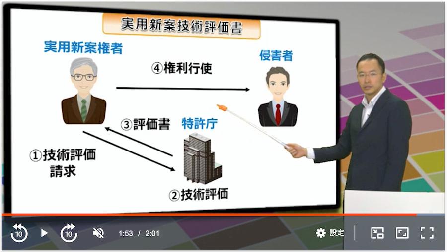 スタディング弁理士講座 実用新案技術評価書を図解したスライド